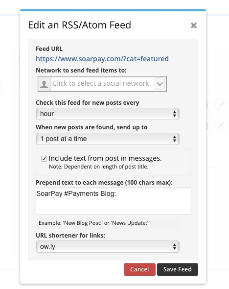 adding rss feed to hootsuite